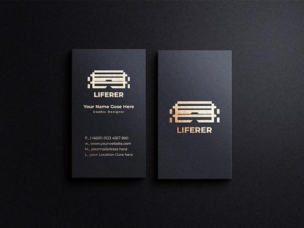 Modello di biglietto da visita verticale di lusso con sfondo scuro