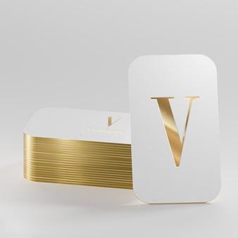 Rendering 3d di biglietto da visita tipografico oro bianco di lusso