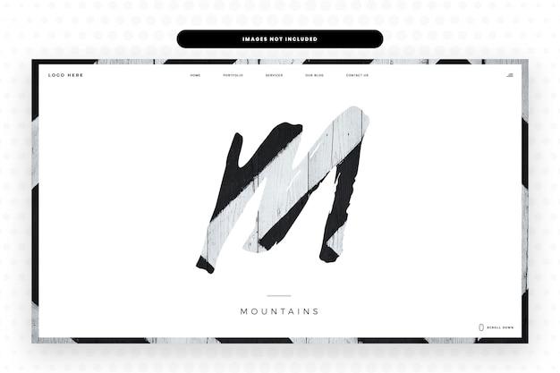 Modello di sito web lettera m,