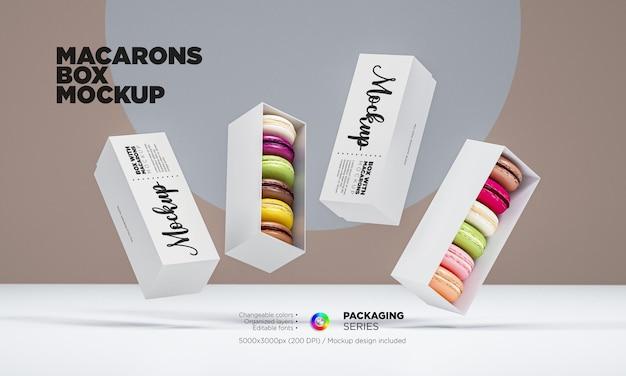 Mockup di scatola di macarons in rendering 3d