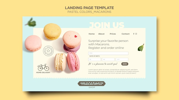Modello di pagina di destinazione del negozio di macarons