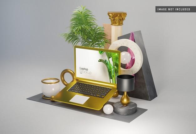 Mockup di argilla macbook pro gold