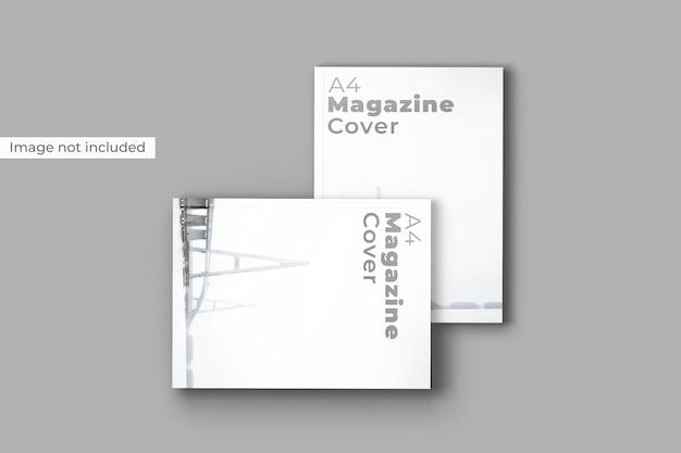 Vista dall'alto di mockup di copertina di una rivista
