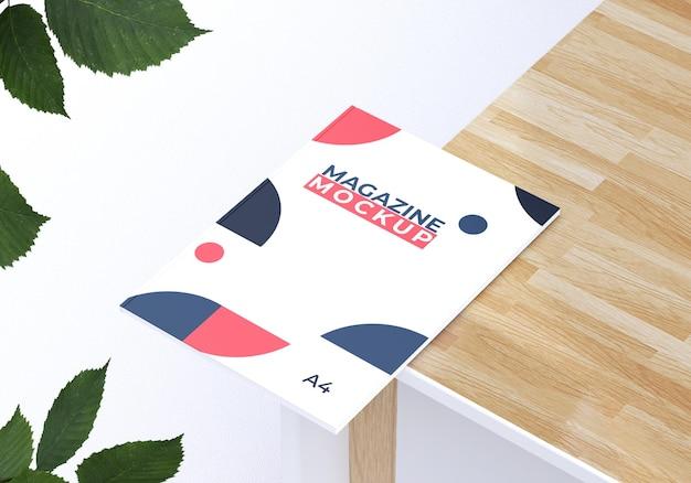 Mockup di rivista con disegno del fogliame