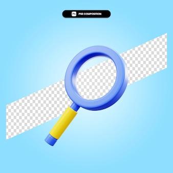 La lente d'ingrandimento 3d rende l'illustrazione isolata