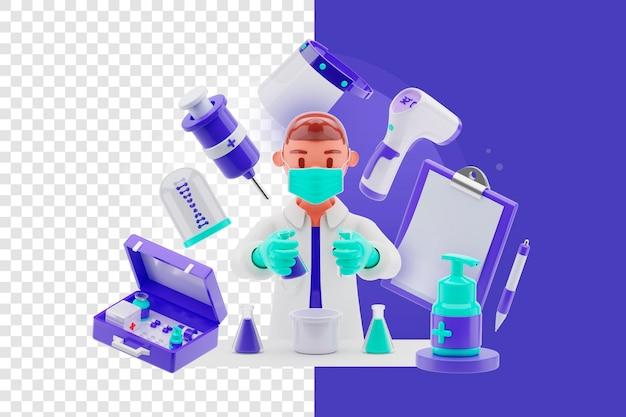 Scienziato maschio con concetto di oggetto 3d medico