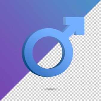 Icona simbolo maschile 3d rendering isolato