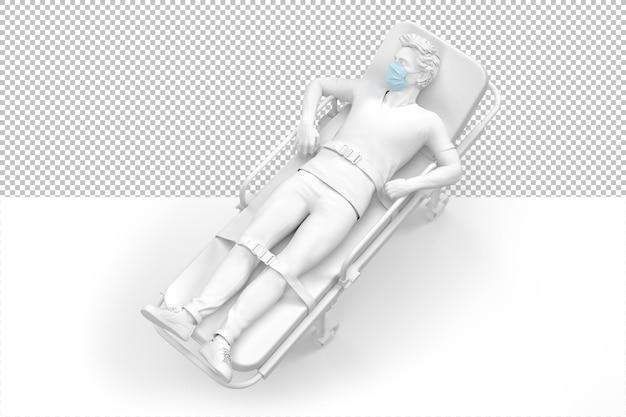 Uomo sulla barella in maschera medica protettiva rendering 3d