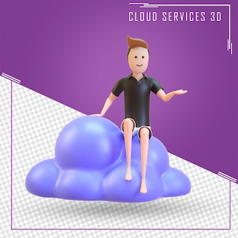 Un uomo seduto su servizi cloud