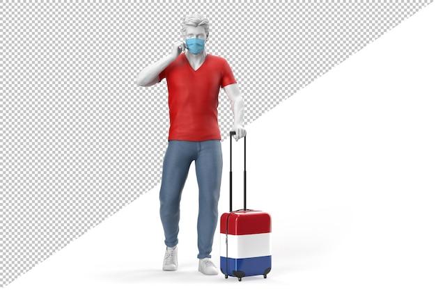 L'uomo che indossa la maschera tira una valigia testurizzata con la bandiera dei paesi bassi. rendering 3d