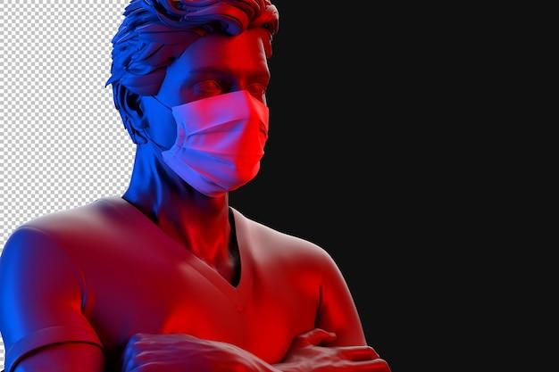 Uomo che indossa la maschera medica protettiva rendering 3d