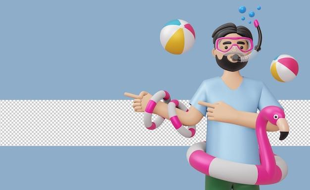 Uomo che indossa la maschera per immersioni subacquee in anello di nuoto fenicottero con accessorio da spiaggia