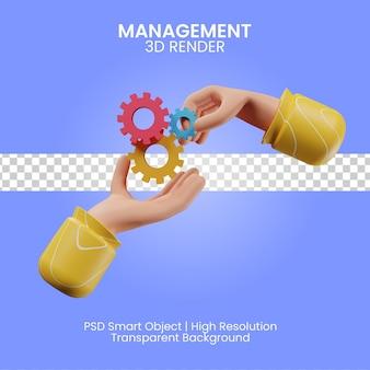 Illustrazione di rendering 3d di gestione isolata