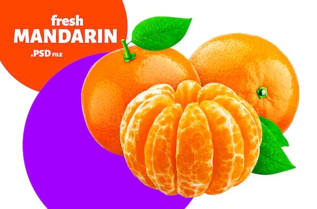 Mandarino isolato, disegno di frutta per l'imballaggio