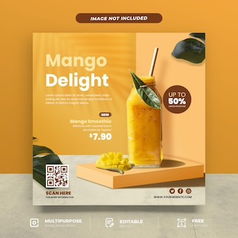 Modello di social media per menu mango delight