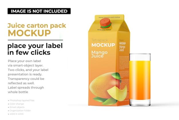 Mockup di confezione di cartone di succo di mango