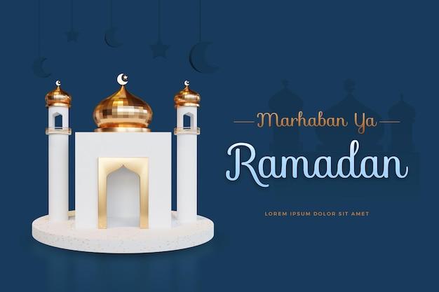 Design marhaban ya ramadan con mockup di rendering 3d