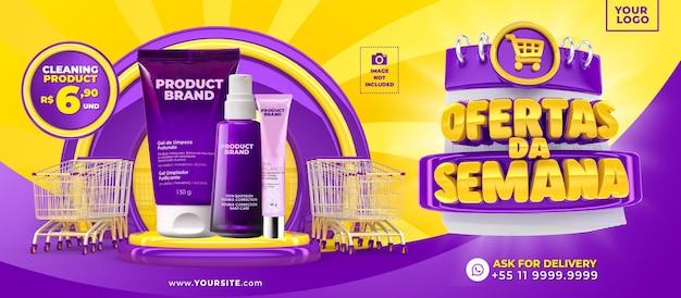 Campagna di marketing in brasile modello di progettazione 3d rendering