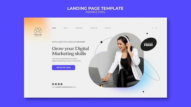 Design del modello di pagina di caricamento del marketing