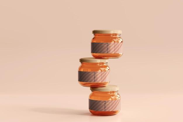 Mockup di vasetti di vetro per marmellata