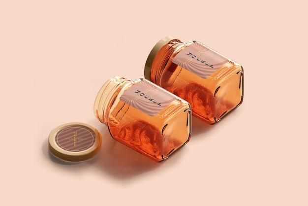 Mockup di vasetti di vetro per marmellata Psd Premium