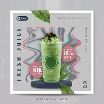 Modello di banner o post sui social media per la promozione del menu della bevanda quadrata del frullato di matcha