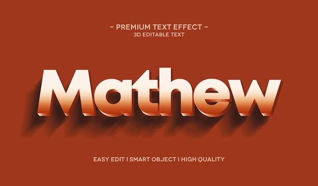 Modello di effetto stile testo 3d mathew
