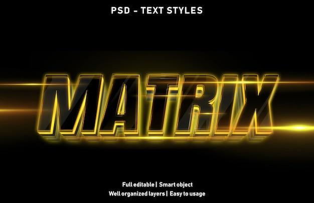 Modello di stile di effetti di testo a matrice
