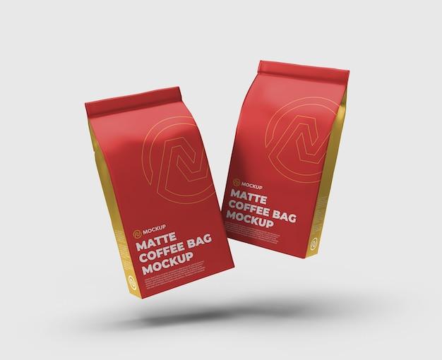 Matte coffee bag float mockup float vista frontale