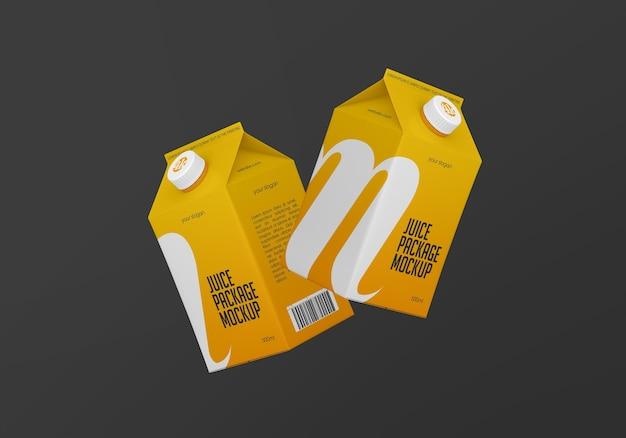 Mockup di pacchetto di cartone di succo opaco