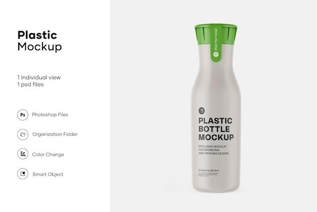 Bottiglia di plastica opaca con mockup adesivo