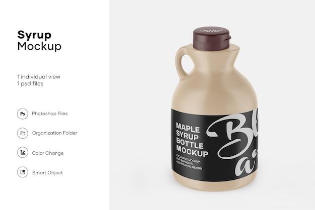 Mockup di bottiglia di sciroppo d'acero in plastica opaca