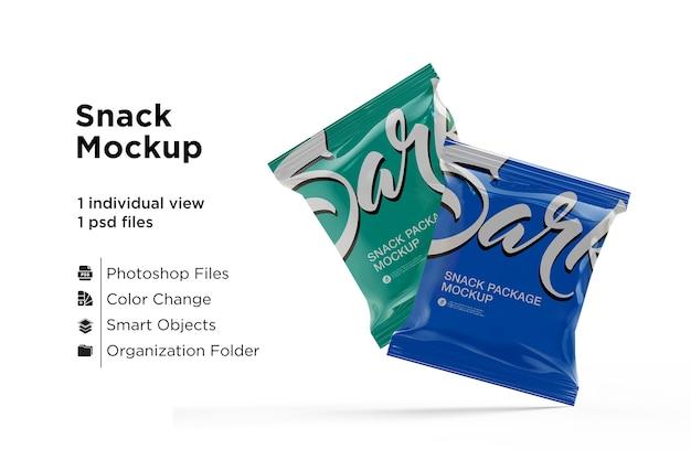 Mockup di pacchetto snack opaco