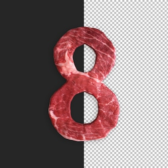 Alfabeto di carne su sfondo nero, numero 8