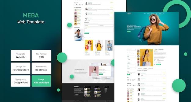 Modello web del negozio di moda meba