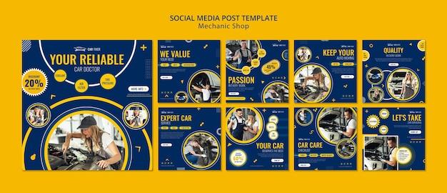 Modello di post sui social media del negozio di meccanico