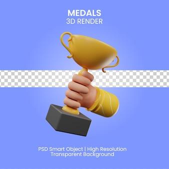 Rendering 3d dell'icona di medaglie isolato