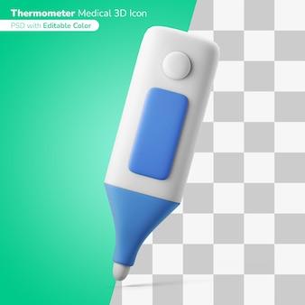Termometro medico ascella illustrazione 3d icona 3d colore modificabile isolato