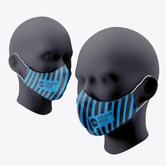 Mockup di maschera facciale medica isolato