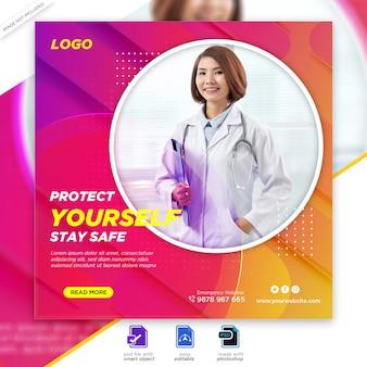 Banner di salute medica su covid-19 coronavirus, modello di banner post di instagram social media