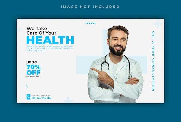 Modello di banner web per social media di assistenza sanitaria medica