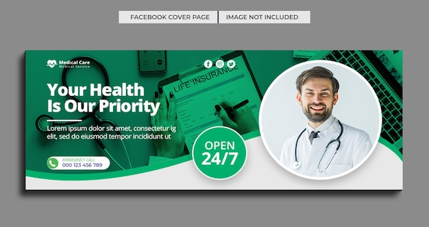 Modello di banner web copertina facebook sanitaria medica