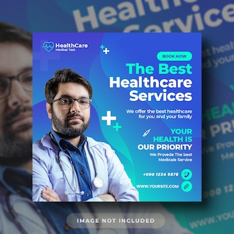 Volantino sanitario medico post sui social media e modello di banner web