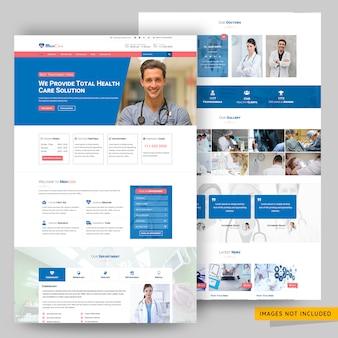 Modello di pagina web di soluzione medica e sanitaria