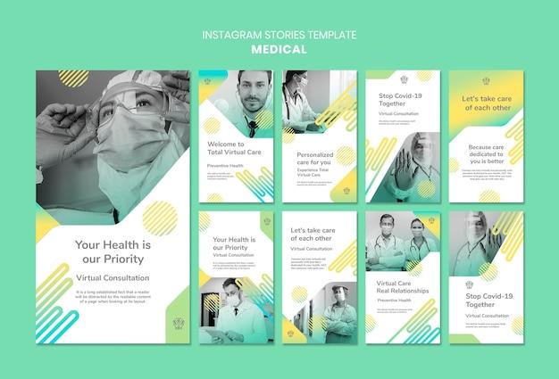 Modello di storie di instagram medico