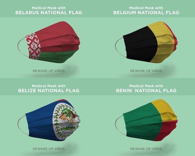 Maschera medica con bandiere della nazione bielorussia belgio belize benin