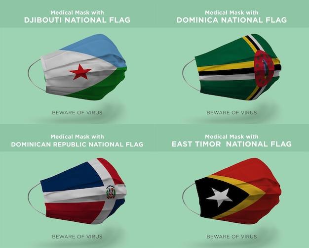 Maschera medica con bandiere della nazione di djbouti dominica repubblica dominicana timor est