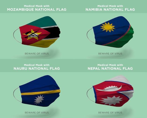 Maschera medica con bandiere nazionali mozambico namibia nauru nepal