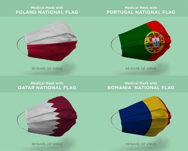 Maschera medica con bandiere nazionali polonia portogallo qatar romania