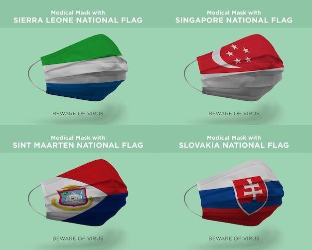 Maschera medica con bandiere nazionali della sierra leone singapore sint maarten slovacchia
